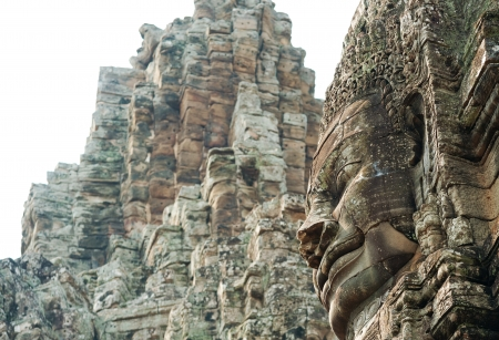 famous faces of Angkor are sculptures of buddhist deity Avalokitesvara at Bayon temple