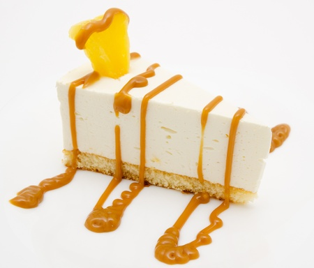 fresh cheese cake with caramel syrup and piece of pineapple Stock Photo - 19216358