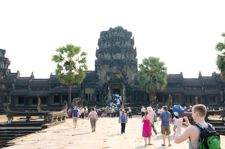 ANGKOR, CAMBODIA - FEB 20  Angkor Wat is a part of the ancient Khmer temple complex Angkor, a UNESCO World Heritage Site, the famous tourist attraction in Cambodia, Feb 20, 2013, Angkor, Cambodia  Stock Photo - 19212976