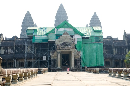 ANGKOR, CAMBODIA - FEB 20  Back view at Angkor Wat being restored  It is a part of the ancient Khmer temple complex Angkor, a UNESCO World Heritage Site, Feb 20, 2013, Angkor, Cambodia  Stock Photo - 19369259