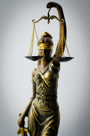 themis: statue of Justice, focus is on scales Stock Photo