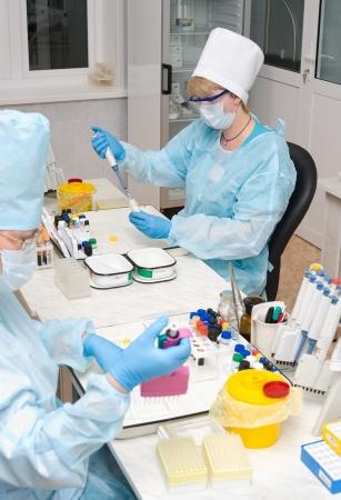 ulan ude: ULAN-UDE, RUSSIA - APR 6  Unidentified nurses test blood at the Buryatia transfusion station laboratory  City Blood Service popularizes donorship among people, Apr 6, 2010, Ulan-Ude, Buryatia, Russia