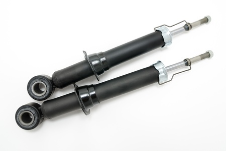 spare parts: shock absorbers for back wheels of motor vehicles Stock Photo