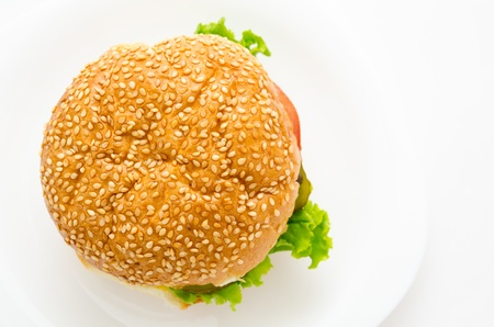buns: hamburguesa con tomate, pepino, cebolla y lechuga, vista superior Foto de archivo