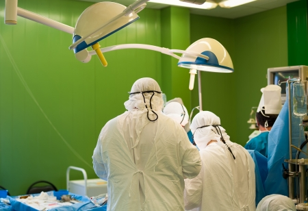 a real surgical operation in a green room Stock Photo - 20062175