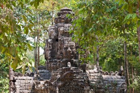 Angkor, the ancient Khmer temple complex, was discovered in 1860 lost in thick jungles photo