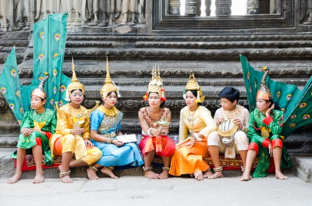 ANGKOR, CAMBODIA - FEB 20  Unidentified dancers prepare for performance at Angkor Wat, a part of ancient Khmer temple complex Angkor, the prime attraction of Cambodia, Feb 20, 2013, Angkor, Cambodia