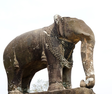 elephant sculpture at Pre Rup, one of famous ancient Angkor temples in Cambodia Stock Photo