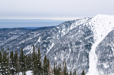 a view at winter Baikal from mountains photo