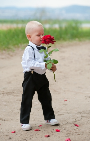 smells: baby blonde boy  dressed as groom  smells red rose Stock Photo