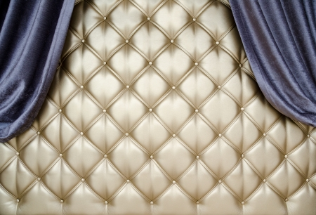 opalesce: golden upholstery, blue curtains at both sides