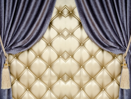 opalesce: golden upholstery, blue curtains with supports and tassels
