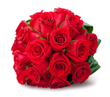 round bouquet of red roses over white