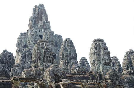 upper half: The upper half of Bayon, a temple complex in Angkor Thom  It is famous with about 200 faces of Avalokitesvara, a buddhist deity