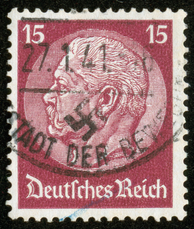 hindenburg: GERMANY - CIRCA 1941  A stamp printed by the fascist Germany Post is a portrait of Paul von Hindenburg, the 2nd President of Germany from 1925 to 1934, circa 1941  The stamp was published in 1933