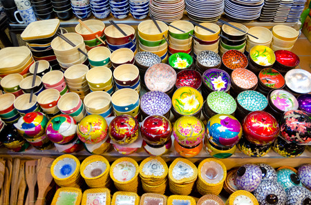 lacquered:  Various souvenir bowls for sale at the night market of Siem Reap  Stock Photo