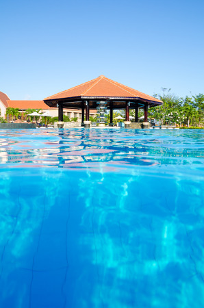 pool bar: outdoor swimming pool with bar in its center