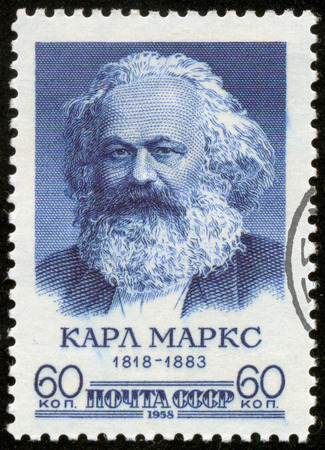 historian: SOVIET UNION - CIRCA 1958  A stamp printed by the Soviet Union Post is a portrait of Karl Marx, a German philosopher, economist, sociologist, historian, journalist, and revolutionary socialist