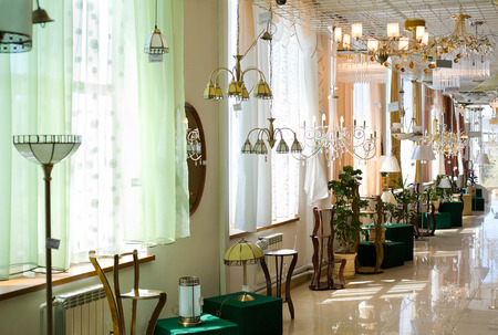 furnishings: various lamps at a home furnishings store
