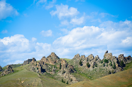 rocks at Suvo village in Barguzin valley at Baikal are nicknamed as Saxon castle photo