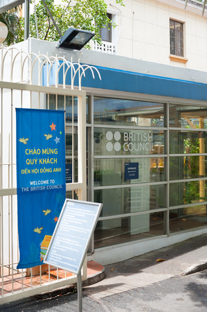str: HO CHI MINH, VIETNAM - JULY 14, 2014: The British Council in Le Duan Str. The organization promotes a wider knowledge of Britain and the English language developing cultural relations with countries. Editorial