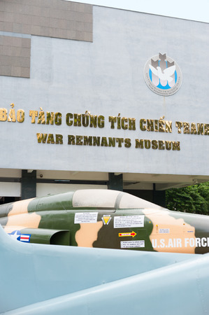 remnants: HO CHI MINH, VIETNAM - JULY 15, 2014: The War Remnants Museum facade. It primarily contains exhibits relating to the American phase of the Vietnam War.