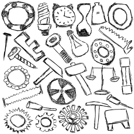 kids drawing - set of many mechanical spare parts and tools photo