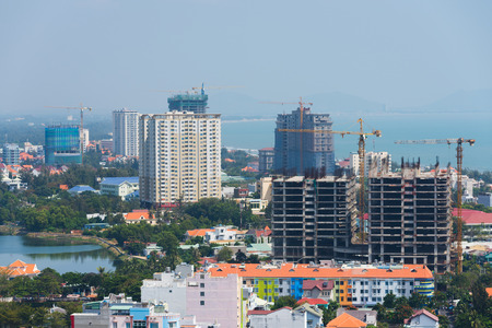 se: constructions of new hotels in Vungtau, Vietnam Stock Photo