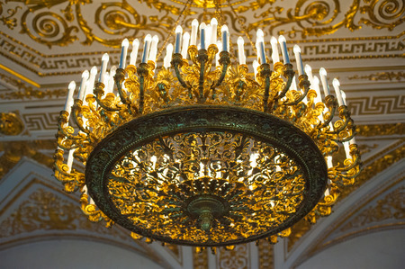 hermitage: ST PETERSBURG - JUNE 30, 2011: A chandelier in one of halls of the Hermitage Museum. Today the collection of the museum contains about 3 million items.