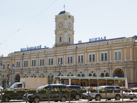terminus: ST. PETERSBURG - MAY 31, 2011: Moskovsky station (Moscow station) facade at Uprising (Vosstaniya) Square. It is a terminus for the Moscow - Saint Petersburg Railway and one of the five city terminals.