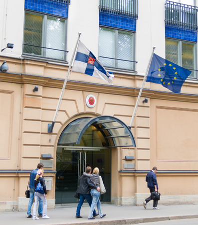 consulate: ST. PETERSBURG - MAY 30, 2011: The General Consulate of Finland facade in Preobrazhenskaya Square. The organization represents Finland and Finnish citizens in the North West of Russian Federation. Editorial