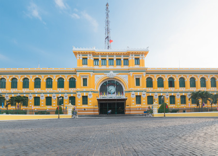 central square: HO CHI MINH, VIETNAM - FEB 18, 2015: Saigon Central Post Office facade on Tet. It was designed and constructed by the famous architect Gustave Eiffel in harmony with the surrounding area.