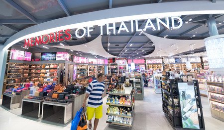 BANGKOK - MARCH 18; 2015: Unidentified people shop at a duty free shop at the International Airport Suvarnabhumi which is the sixth busiest airport in Asia.