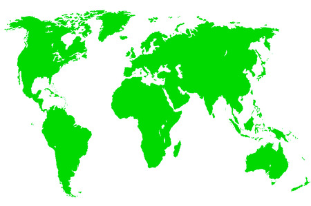 a green map of the world, isolated, clipping path