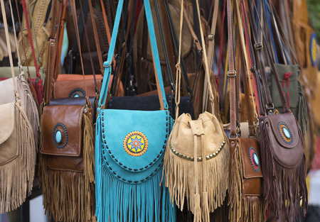 various leather bags for sale, market in Thailand Stock Photo