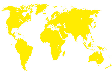 approximate: a yellow map of the world, isolated, clipping path
