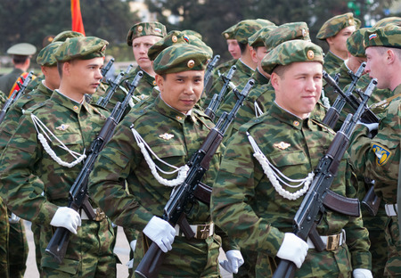 lasted: ULAN-UDE, RUSSIA - MAY 9, 2009: Unidentified young Russian soldiers wait for the parade on annual Victory Day at the central city square. World War 2 lasted for 6 years from 1939 till 1945.