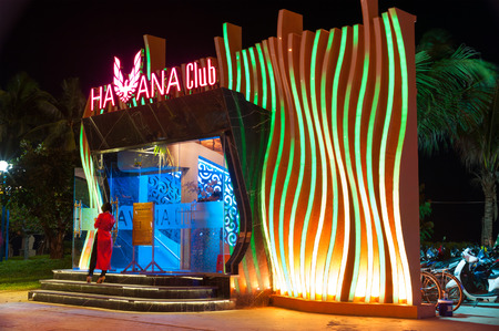 tran: NHA TRANG, VIETNAM - AUGUST 5, 2014: A night view at the Habana night club in Tran Phu Street, the first street along sea shore. Nha Trang is a popular sea resort in Vietnam.