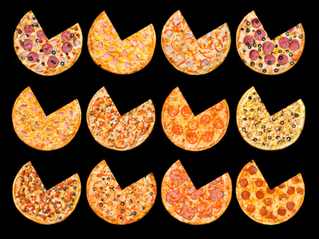 twelve different pizzas in one set, isolated on black, top view photo