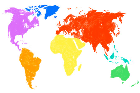 a multicolored water color map of the world, isolated Stock Photo