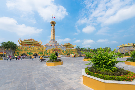 hectares: HO CHI MINH VIETNAM APRIL 28 2015: The entrance gate of the Dainam amusement park 40 km away from the city. The park is very large it occupies the territory of 450 hectares.