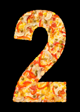 number two cut out of pizza with mushrooms photo