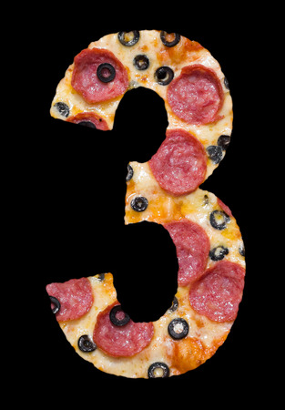 cipher: number three cut out of pizza with pepperoni
