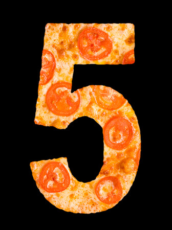 cipher: numeral 5 cut out of pizza with tomato circles, isolated
