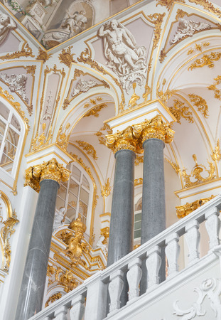 places of interest: ST. PETERSBURG - JUNE 30, 2011: A view from the principal or Jordan Staircase of the Winter Palace. The staircase is one of the few parts of the palace retaining the original 18th century style. Editorial