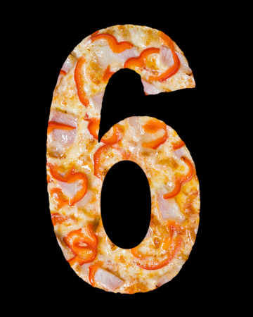 cipher: numeral 6 cut out of pizza with tomato and paprika isolated
