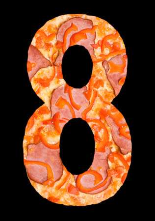 cipher: number 8 cut out of pizza with meat and paprika, isolated