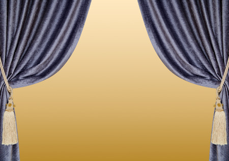 opalesce: grey blue curtains with supports and tassels over golden gradient