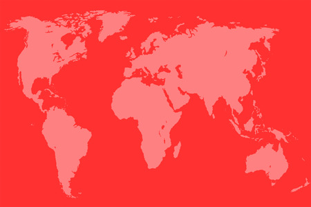 approximate: red map of the world over orange, isolated