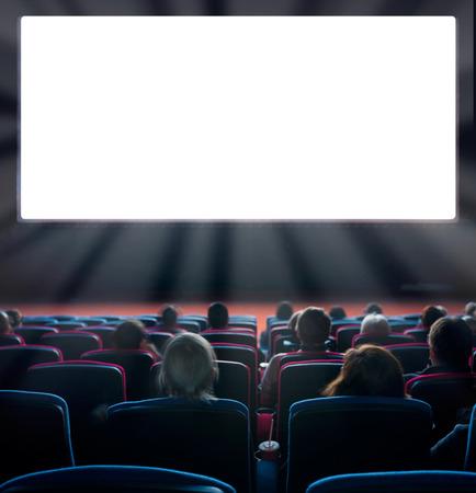 teatro: espectadores ver la imagen en movimiento en el cine, exposici�n larga